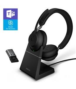 Auricular Jabra Evolve2 65 USB-A MS Estéreo Negro + Base de Carga