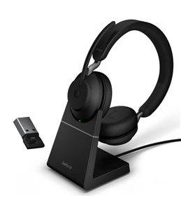 Auricular Jabra Evolve2 65 USB-A UC Estéreo Negro + Base de Carga