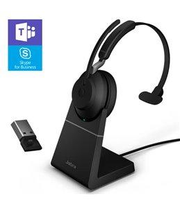 Auricular Jabra Evolve2 65 USB-A MS Mono Negro con Base de Carga