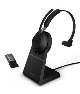 Auricular Jabra Evolve2 65 USB-A UC Mono Negro + Base de Carga