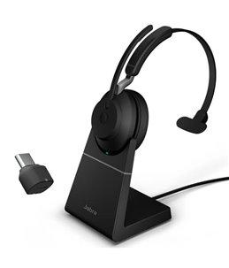 Auricular Jabra Evolve2 65 USB-C UC Mono Negro + Base de Carga