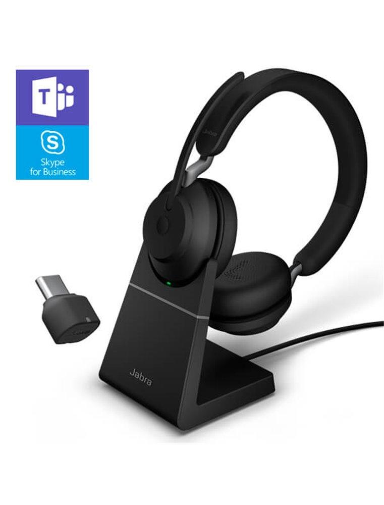 Auricular Jabra Evolve2 65 USB-C MS Estéreo Negro + Base de Carga