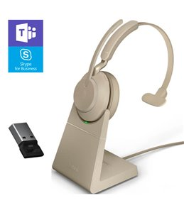Auricular Jabra Evolve2 65 USB-A MS Mono Beige + Base de Carga