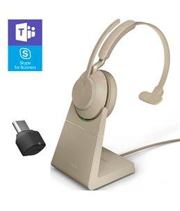 Auricular Jabra Evolve2 65 USB-C MS Mono Beige + Base de Carga