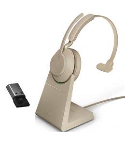 Auricular Jabra Evolve2 65 USB-A UC Mono Beige + Base de Carga