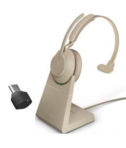 Auricular Jabra Evolve2 65 USB-C UC Mono Beige + Base de Carga