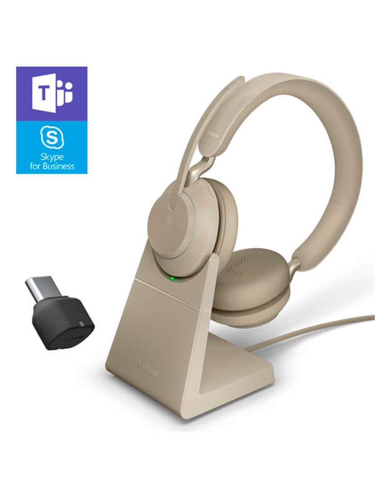 Auricular Jabra Evolve2 65 USB-C MS Estéreo Beige + Base de Carga