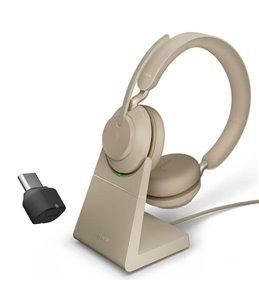 Auricular Jabra Evolve2 65 USB-C UC Estéreo Beige + Base de Carga